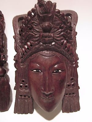 "10"" Vintage Asian Chinese Empress with Headress Hand Carved Wood Mask Rosewood"