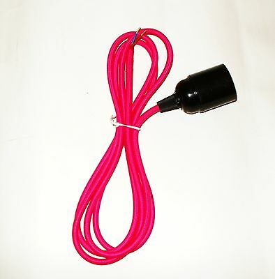 2 Metre 2 Core PINK Braided Fabric Lighting Cable / Flex Screw Bulb Fitting