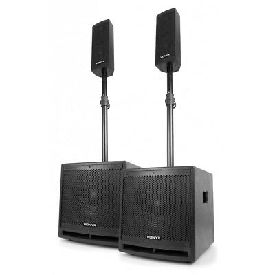 Aktiv PA Lautsprecher Set Topteil Subwoofer Bass 1000 Watt - DJ Club Party MP3