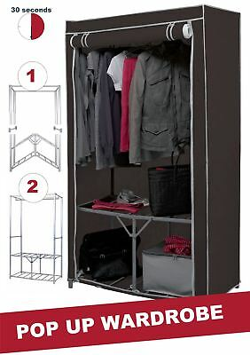 Double Canvas Wardrobe Clothes Cupboard Hanging Rail Storage Shelves