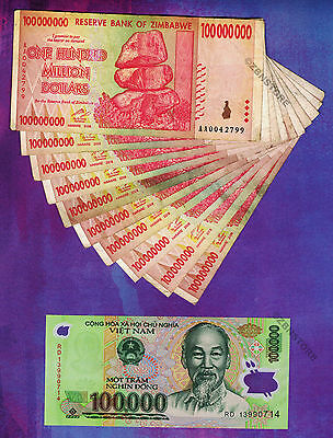 10 x 100 Million Zimbabwe Dollars + 1 x 100,000 Vietnam Dong Banknotes Currency