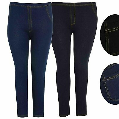 Womens Leggings Ladies Skinny Stretch Denim Jeans Look Jeggings Plus Size 8-26