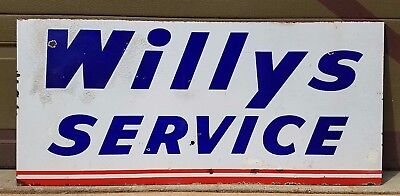 """Original Willy's Service Porcelain Double Sided  Sign 48"""" x 22""""[-Gas & Oil-]"""