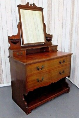 An Antique Edwardian Solid Mahogany Dressing Chest Table ~Delivery Available~