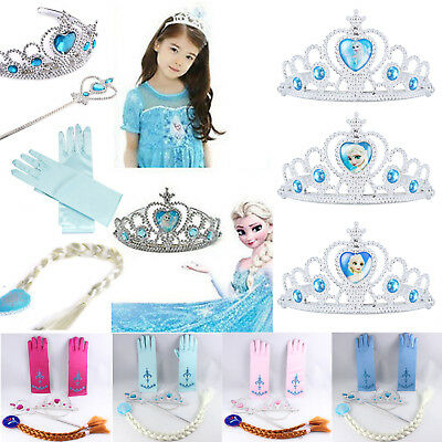 Frozen Princess Queen Elsa Anna Tiara Crown Wig Wand Gloves Set Cosplay Costume