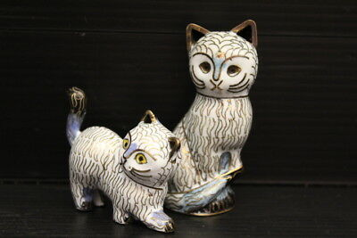 """Vintage Set of 2 Chinese Asian Cloisonne Cat Figures ~ 3"""" Tall"""