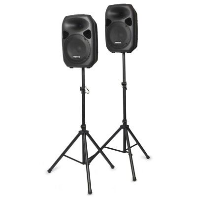 "Aktiv PA Set 700W Lautsprecher Set 12"" inkl. Stativen und Kabel - DJ Party Club"