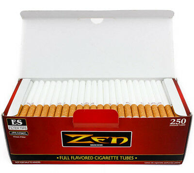Zen FULL Flavor KING Tubes Box 250 ct. Filter Tubes RED - Cigarette Empty Tubes