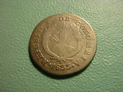 Colombia - Silver - 1833/29 1-Real In Nice Condition