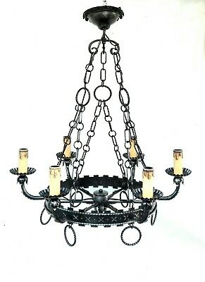 Vintage Gothic style Wrought Iron Large Spanish Chandelier Revival 6 Light