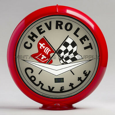 "Grey Corvette 13.5"" Gas Pump Globe w/ Red Plastic Body (G113)"