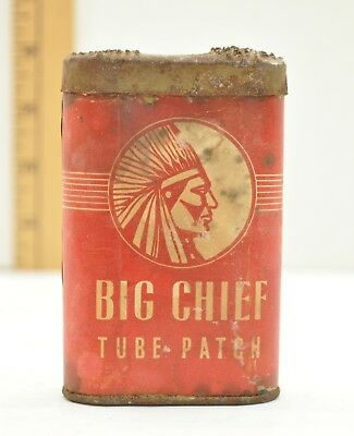 vintage TIRE PATCH TIN ADVERTISING BIG CHIEF TUBE PATCH GAS SATION GARAGE