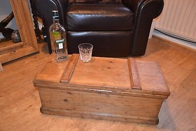 Antique Victorian chest work box waxed pine coffee table trunk
