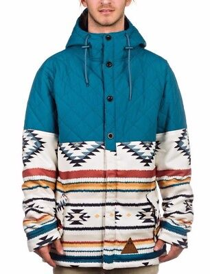 Neff Mens Bloom Snowboard Shred Quilted Button Jacket Hooded Sweater