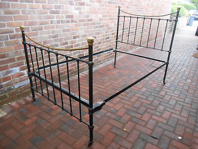 4ft Antique Victorian Brass and Cast Iron Small Double / Single Bed DE4 MATLOCK