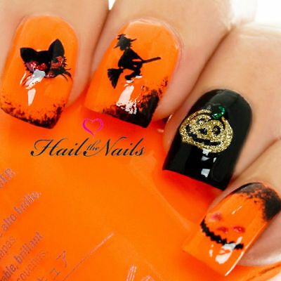 Halloween Gold Glitter Pumpkin Witch 3d Nail Art Stickers Decals