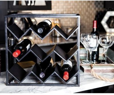 9-Bottle Wine Black Rack Elegant Sturdy Metal Kitchen Home Bar Storage Holder