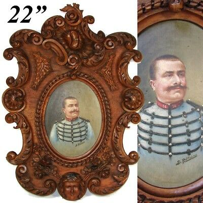 """Antique Carved Black Forest 22"""" Frame, Military Portrait in Oil, B. Ruffini 1906"""