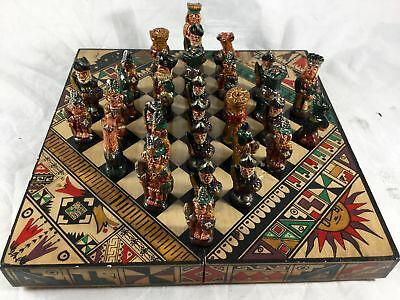 Miniature Chess Set in Wooden Case 32 Ceramic Pieces Medieval Aztec Theme