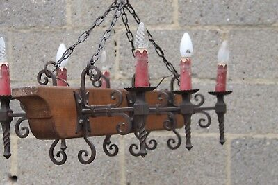 NICE  antique french castle  chandelier wrought iron and wood  L10