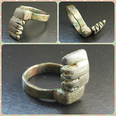 RARE ROMAN BRONZE SHANK UP TUMBLER RING KEY 2nd - 4th CENTURY A.D.