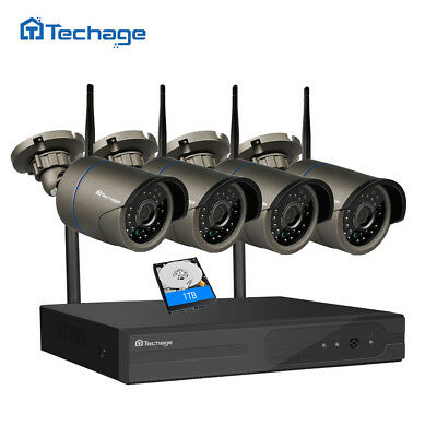 Techage 4CH Wireless 1080P NVR 720P 1.0MP Wifi IP Camera Security System+1TB HDD