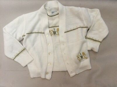Vintage Huntingdon Mills Toddler Boys Carousel Sweater Set Pullover/Cardigan 3T
