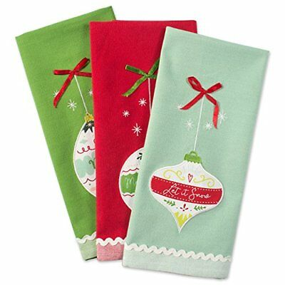 "Christmas Holiday Dish Towels, 18x28"" Set of 3, Decorative..."