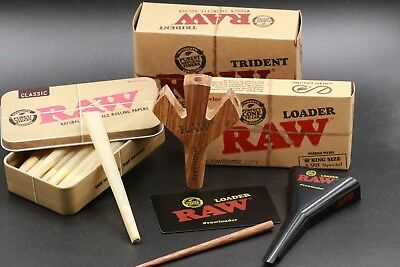 Raw King Size Pre Rolled Cones Bundle With Trident And Raw Loader