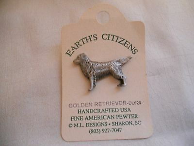 Earth's Citizens Fine American Pewter Golden Retriever Pin by M.L. Designs