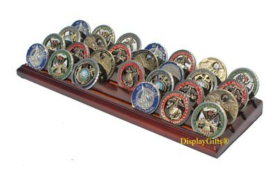 Military Challenge Display Coin Holder Stand Walnut Finish CN7