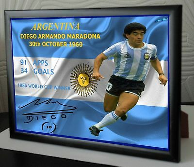 "Diego Maradona Framed Canvas Signed ""Great Gift"""