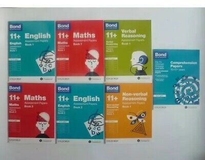 Bond11+ Assessment Papers Eng Maths 7 Books 1 & 2 Comprehension verbal Age 10-11