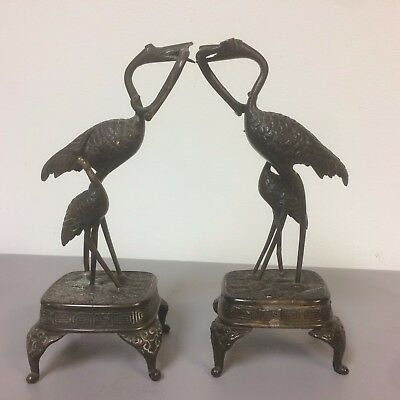 Pair of Vintage Antique Chinese Bronze Figure Bird Herring Stork