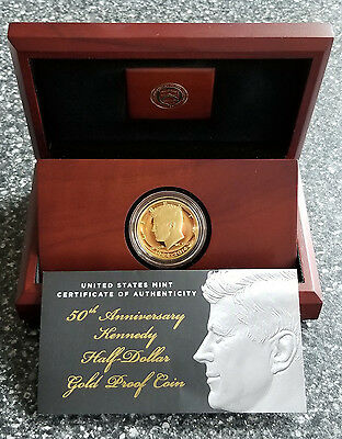 2014-W 3/4 oz Gold Proof Kennedy Half Dollar Commemorative - Box & COA