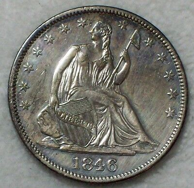 1846 Seated Liberty HALF DOLLAR *SILVER* AU Detailing Authentic 50C US Coin .50