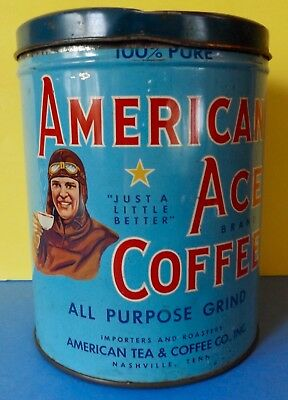 Large 3lb Size RARE American Ace Coffee Tin Showing WWI Aviator Graphics !!!
