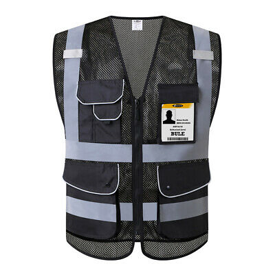 Safety Vest Breathable Reflective Hi-Vis Zippers 9 Pockets Black ANSI Class 2