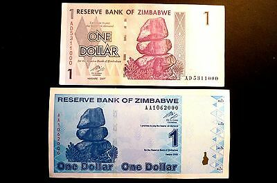 """ZIMBABWE 2 x """"UNC"""" MINT ($1) ONE DOLLAR NOTES 2007 & 2009 BUY BOTH NOW ONLY 99p"""