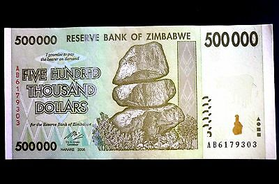 ZIMBABWE NEW $500.000 FIVE HUNDRED THOUSAND DOLLARS NOTE ~ BUY IT NOW ONLY 99p