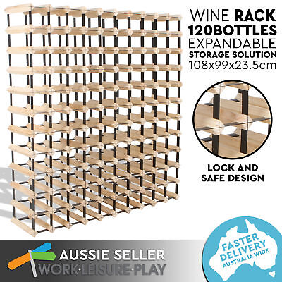 Set of 2 120 Bottle Wooden Metal Wine Rack Natural Wood Colour Cellar Organiser