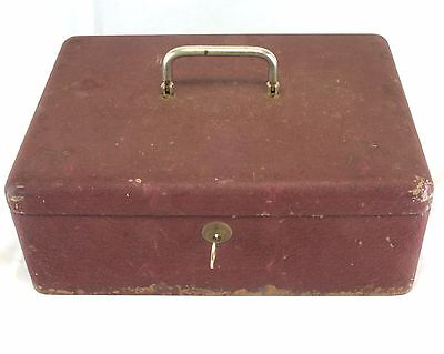 Vnt Heavy Metal Steel Strong Lock Box Made N Germany Orig Red 11.5Lx8.5Wx4.5T