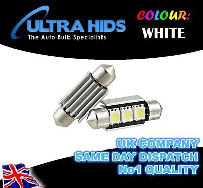 VW Caddy 04-on ICE White LED CANBUS C5W Number Plate Blubs 3 SMD Bright Xenon
