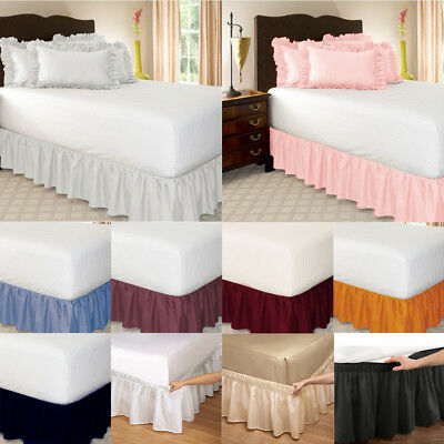 Wrap Around Elastic Bed Skirts Ruffle Valance Drop Solid Color Single/Queen/King