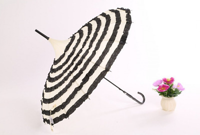 Ladies Sunproof Umbrella Parasol Lace Flowers Pagoda Victoria Style Long Handle