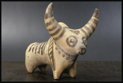 ICVCO02 Indus Near Eastern Antique zebu buffalo Pottery Doll Pakistan Ancient