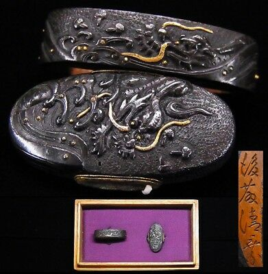 "FINE Signed FUCHI/KASHIRA 18-19thC Japanese Edo Antique fitting ""Dragon"" e081"