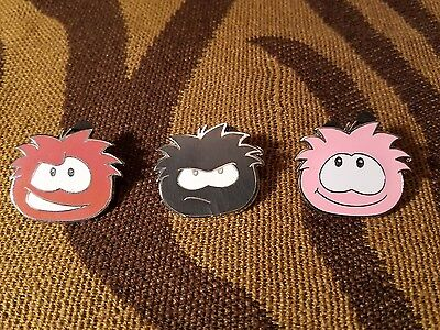 Disney Trading Pins Club Penguin Pink,Red and Black Set/Lot Of 3
