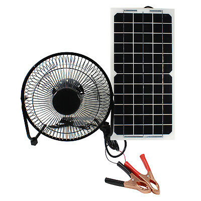 25cm Fan Powered by 10W Solar Panel Multipurpose 12V Charger RV House Ventilator