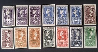 RARE 1950 Spain lot of 14 Centenary of Spanish Postage Stamps Mint